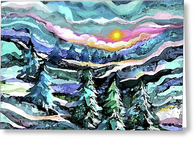 Winter Woods At Dusk Greeting Card