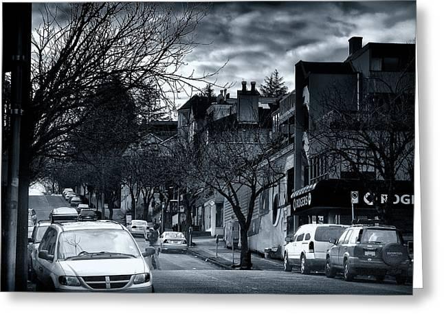 Winter Yew Street Greeting Card by Paul Kloschinsky
