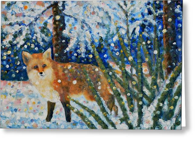 Winter Yucca / Red Fox Greeting Card by Jim Rehlin
