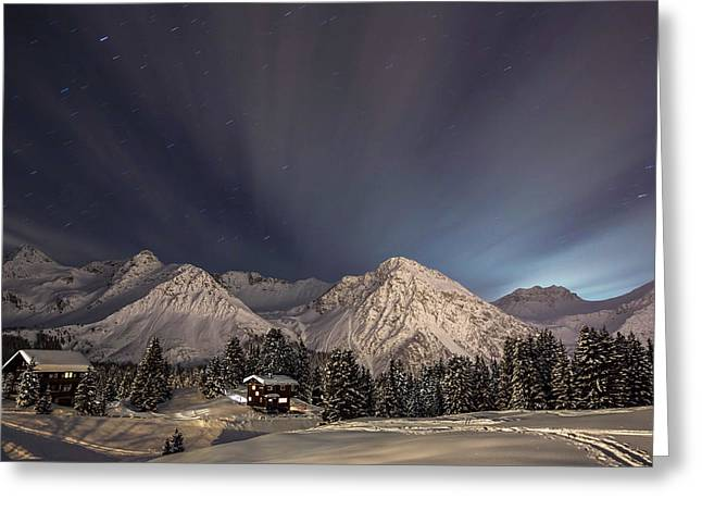 Winterevening In The Mountains Greeting Card by Ralf Eisenhut
