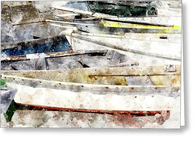 Winterport Dories Wc Greeting Card by Peter J Sucy