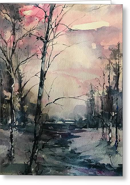 Winter's Blush Greeting Card by Robin Miller-Bookhout