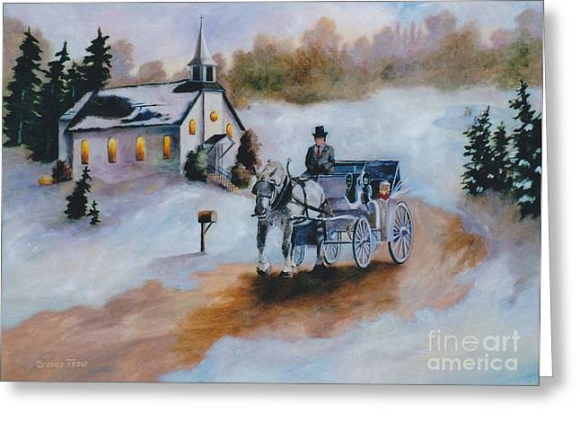 Greeting Card featuring the painting Winters Dream by Brenda Thour