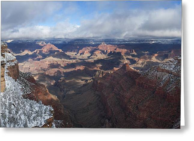 Winter's Grasp At The Grand Canyon Greeting Card by Sandra Bronstein