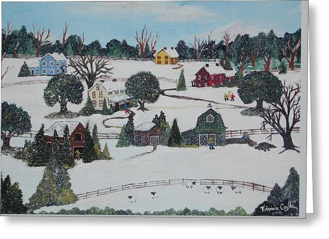 Winters Last Snow Greeting Card by Virginia Coyle