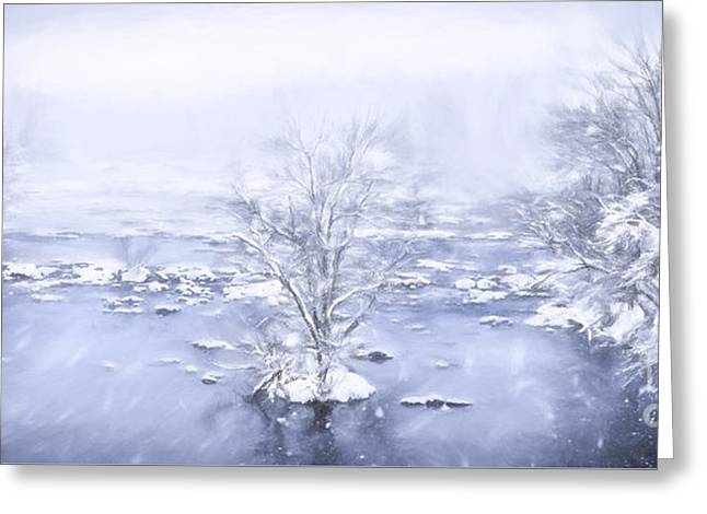 Winter Photos Paintings Greeting Cards - Winters Roar II Greeting Card by Dan Carmichael