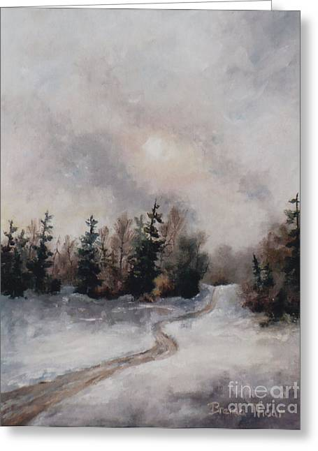 Greeting Card featuring the painting Winters Sunset by Brenda Thour