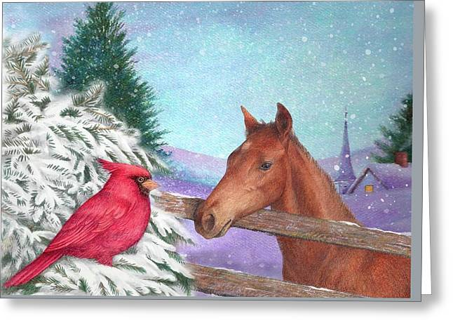 Greeting Card featuring the painting Winterscape With Horse And Cardinal by Judith Cheng