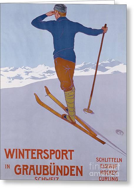 Wintersport In Graubunden, 1906  Greeting Card