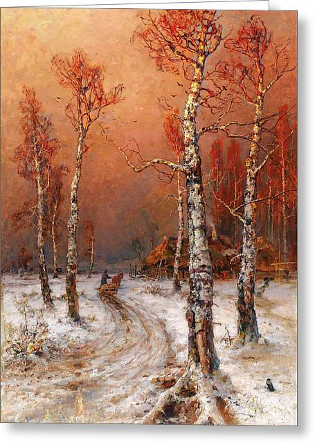 Wintery Atmosphere With Rooks Greeting Card