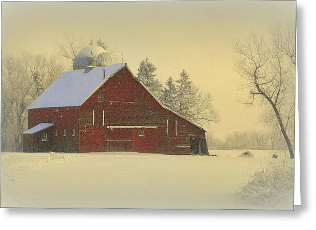 Snowy Day Greeting Cards - Wintery Barn Greeting Card by Julie Lueders