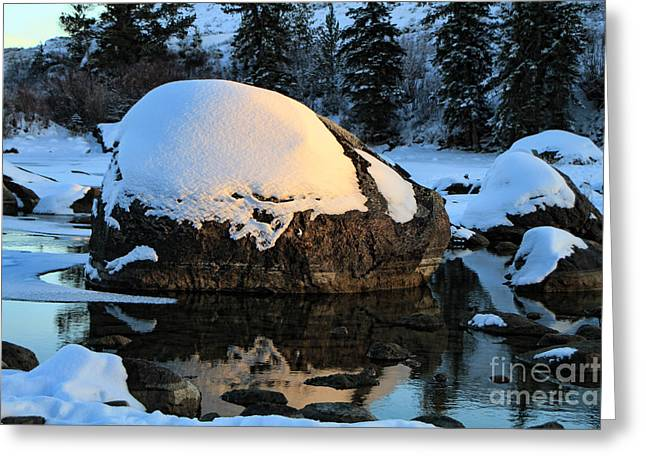 Greeting Card featuring the photograph Wintery Rock by Edward R Wisell