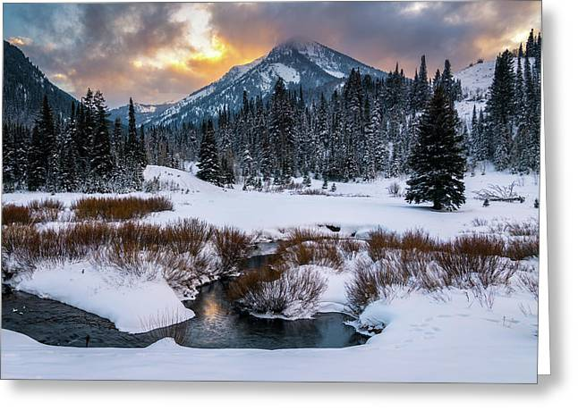 Wintery Wasatch Sunset Greeting Card by James Udall