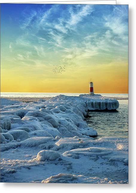 Wintry River Channel Greeting Card