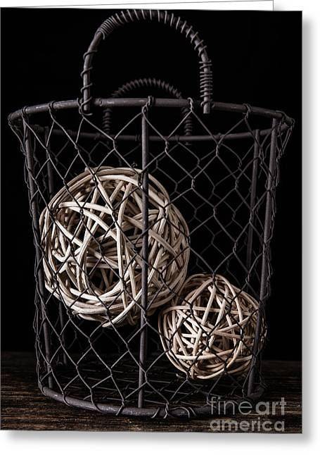 Wire Basket And Balls Still Life Greeting Card by Edward Fielding