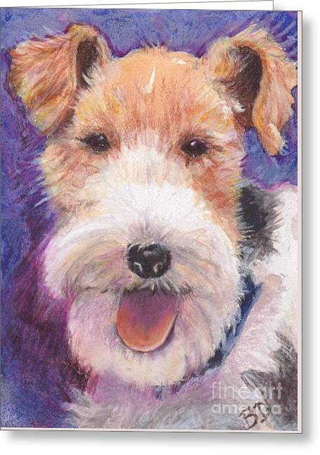 Wire Fox Terrier Greeting Card by Barbara Donati
