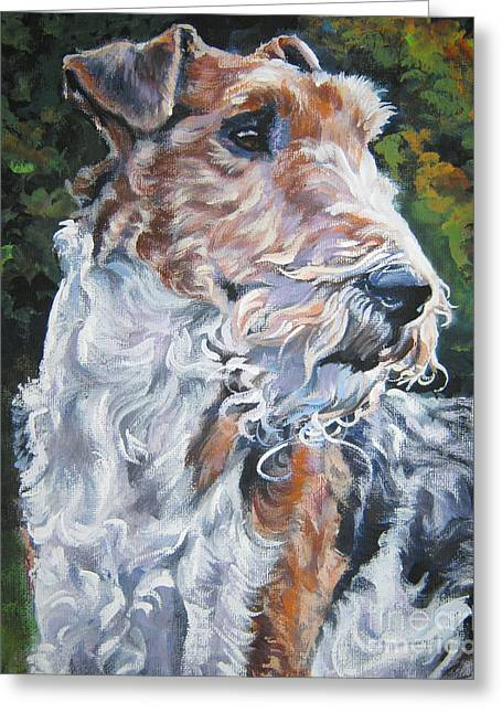 Wire Fox Terrier Greeting Card by Lee Ann Shepard