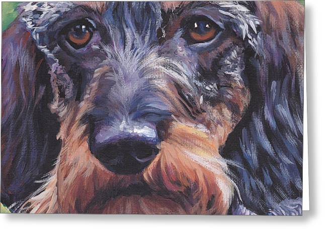 Wire Paintings Greeting Cards - Wire Haired Dachshund Greeting Card by Lee Ann Shepard
