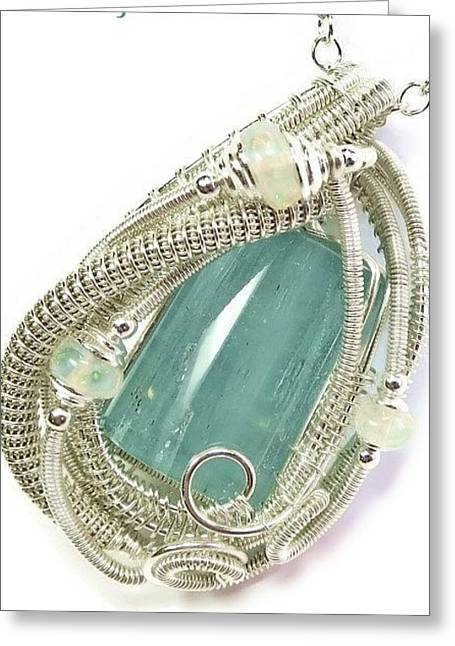Wire-wrapped Aquamarine Crystal Pendant In Sterling Silver With Ethiopian Opals Aqpss2 Greeting Card by Heather Jordan