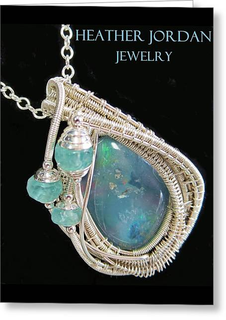 Wire-wrapped Australian Opal Pendant In Sterling Silver With Blue Apatite Abopss3 Greeting Card by Heather Jordan