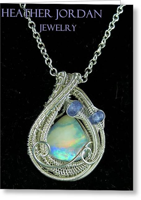 Wire-wrapped Australian Opal Pendant In Sterling Silver With Tanzanite Auopss1 Greeting Card by Heather Jordan