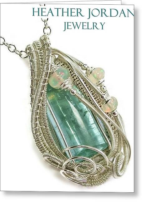 Wire-wrapped Natural Aquamarine Crystal Pendant In Sterling Silver With Ethiopian Opals Aqpss1 Greeting Card by Heather Jordan