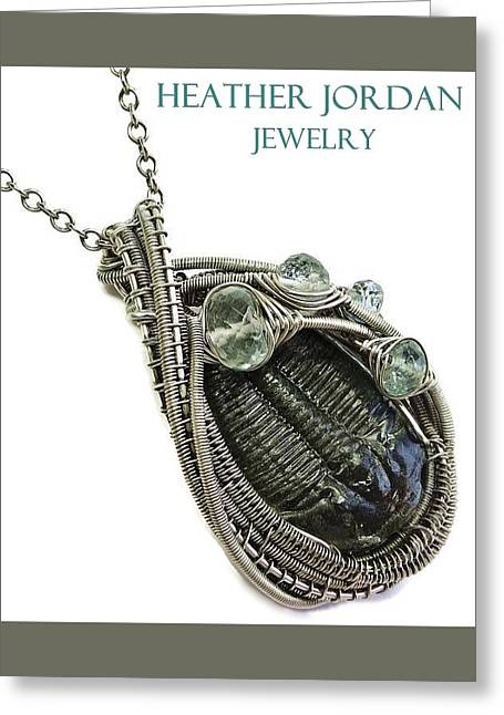 Wire-wrapped Trilobite Fossil Pendant In Antiqued Sterling Silver With Aquamarine Trilss8 Greeting Card by Heather Jordan