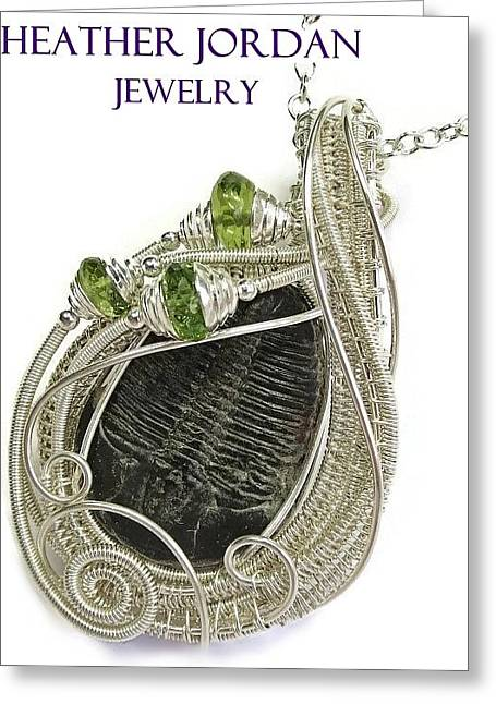 Wire-wrapped Trilobite Fossil Pendant In Sterling Silver With Peridot Trilss6 Greeting Card by Heather Jordan