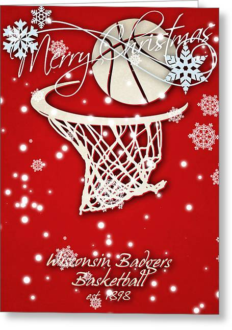 Wisconsin Badgers Christmas Card Greeting Card by Joe Hamilton