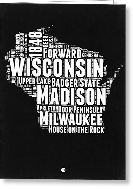 Wisconsin Black And White Word Cloud Map Greeting Card by Naxart Studio