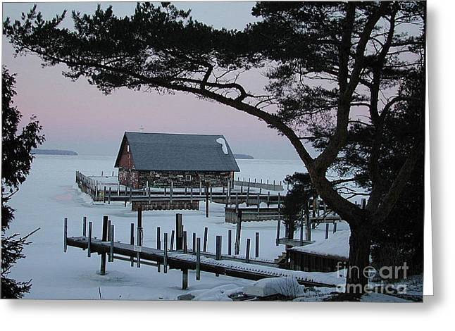 Wisconsin Boathouse Greeting Card by Jim Wright