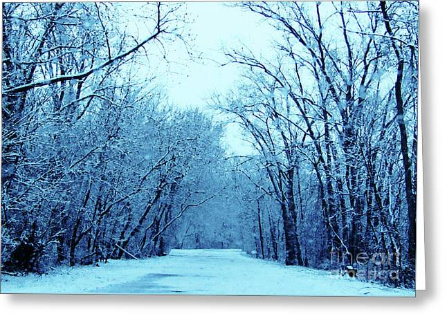 Wisconsin Frosty Road In Winter Ice Greeting Card