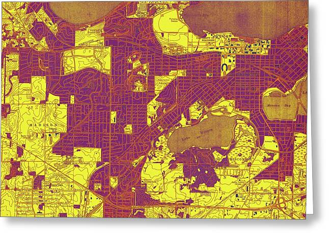 Wisconsin, Madison West Yellow, Purple And Brown Old Map, Year 1959 Greeting Card by Pablo Franchi