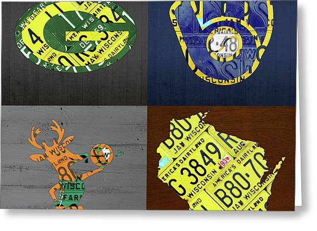 Wisconsin Sports Team License Plate Art Milwaukee Green Bay Plus Map Brewers Bucks Packers Greeting Card