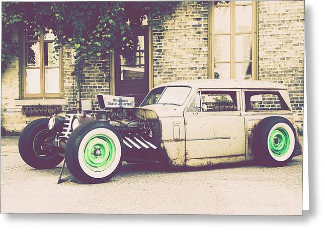 Greeting Card featuring the photograph Wisconsin State Journal Ratrod by Joel Witmeyer