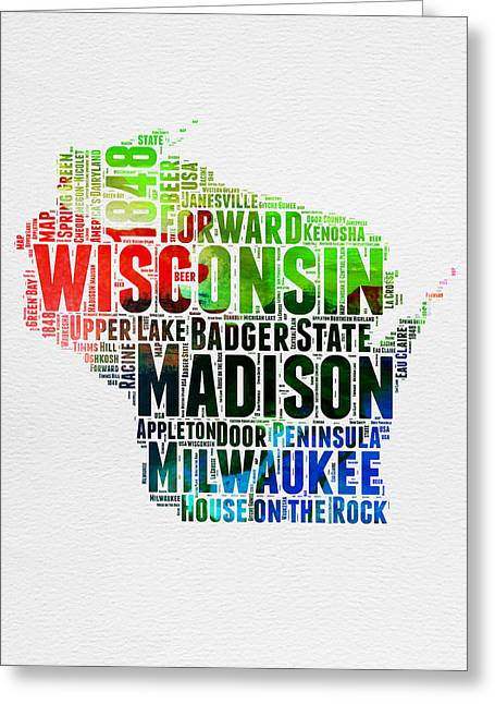 Wisconsin Watercolor Word Cloud Map  Greeting Card by Naxart Studio