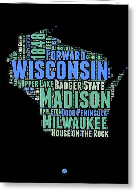 Wisconsin Word Cloud Map 1 Greeting Card by Naxart Studio