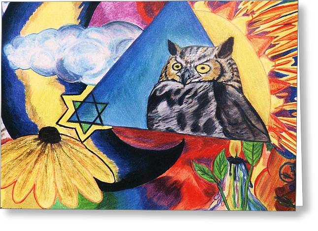 Symbol Pastels Greeting Cards - Wisdom Greeting Card by Jamey Balester