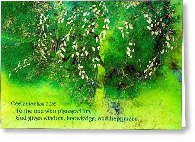 Wisdom Knowledge And Happiness Greeting Card by Anne Duke