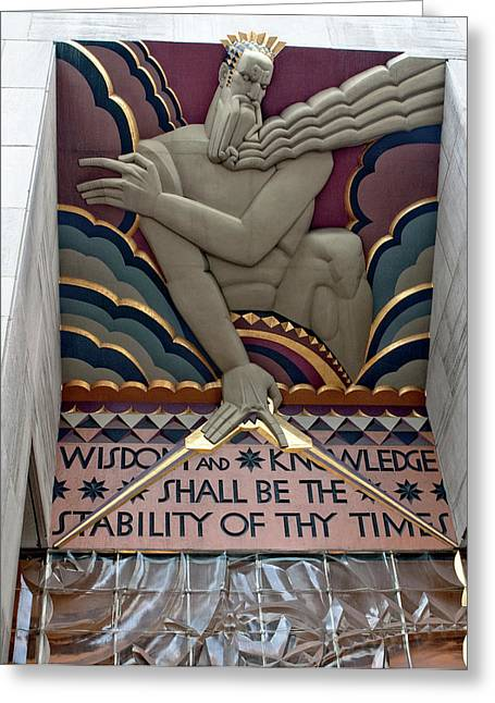 Wisdom Lords Over Rockefeller Center Greeting Card