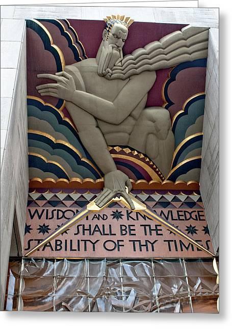 Wisdom Lords Over Rockefeller Center Greeting Card