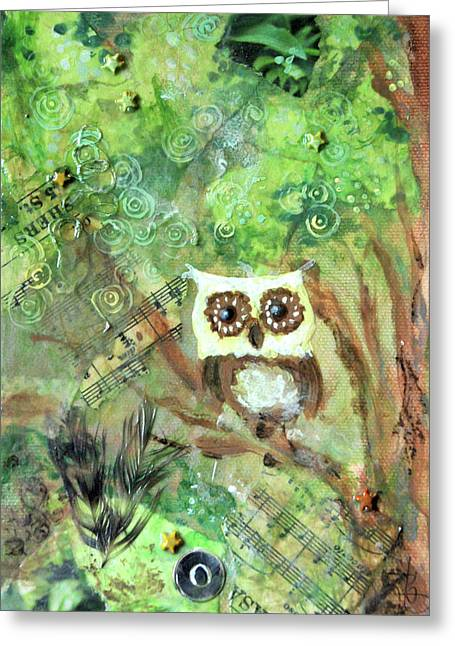 Nursery Rhyme Mixed Media Greeting Cards - Wise Old Owl Greeting Card by Jennifer Kelly