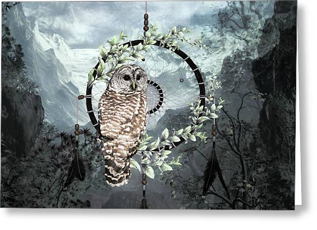 Wise Owl Dreamcatcher Greeting Card