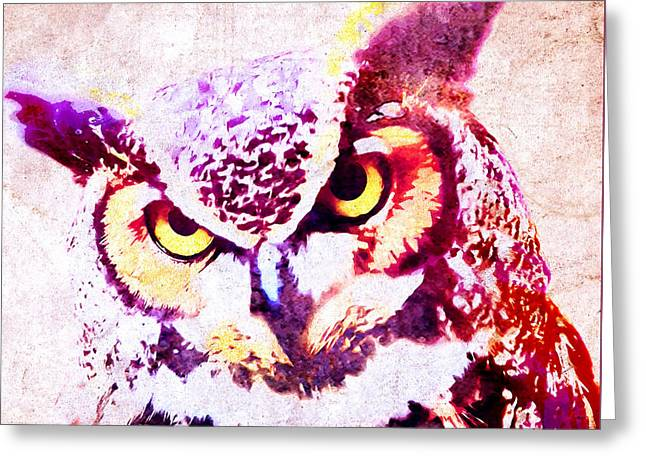 Wise Owl Greeting Card by Stacey Chiew