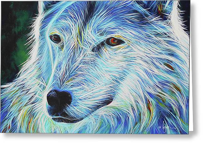Greeting Card featuring the painting Wise White Wolf by Angela Treat Lyon