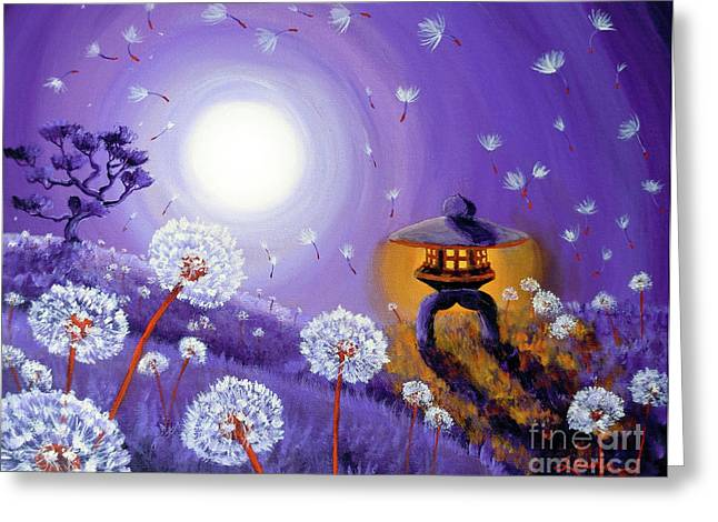 Wishes By A Stone Lantern Greeting Card by Laura Iverson