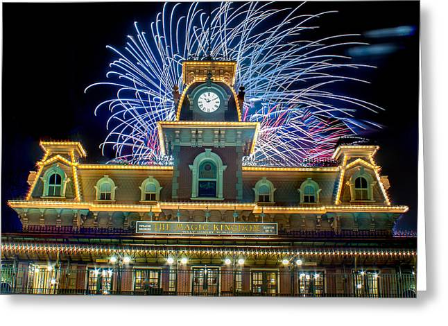 Wishes Over Magic Kingdom Train Station. Greeting Card