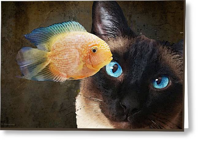 Wishful Thinking 2 - Siamese Cat Art - Sharon Cummings Greeting Card by Sharon Cummings