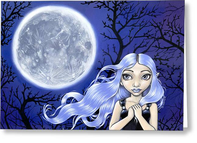 Wishing On The Moon Greeting Card by Lindsey Cormier