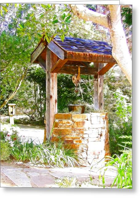 Wishing Well Cambria Pines Lodge Greeting Card by Arline Wagner